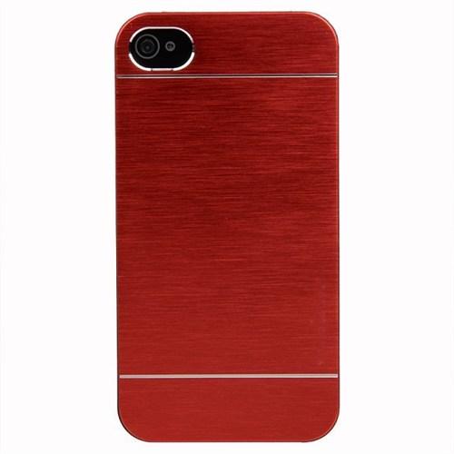 KılıfShop Apple 4 Metal Kılıf Kırmızı