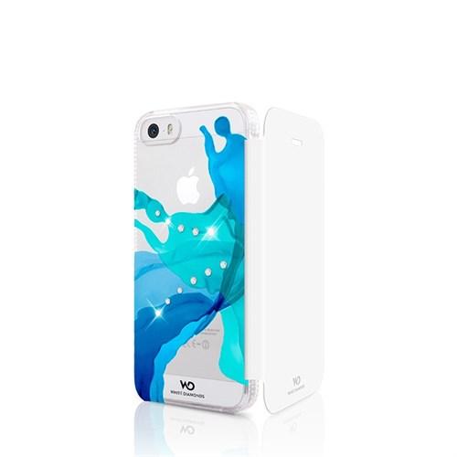 White Diamonds Apple İphone Se 5 5S Kılıf White Diamonds Liquidsbooklet Zirkon Taşlı Mavi