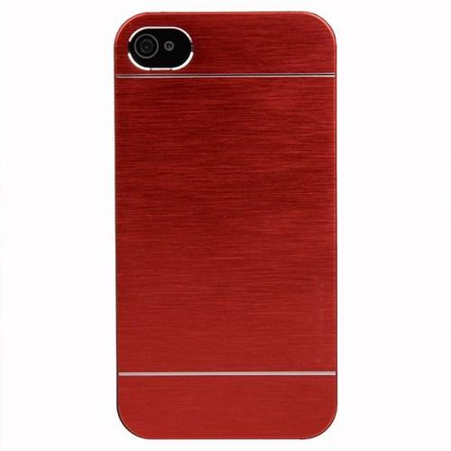 KılıfShop Apple 4S Metal Kılıf Kırmızı