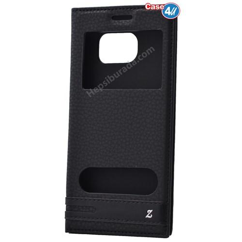 Case 4U Samsung Galaxy S7 Edge Pencereli Kapaklı Kılıf Siyah