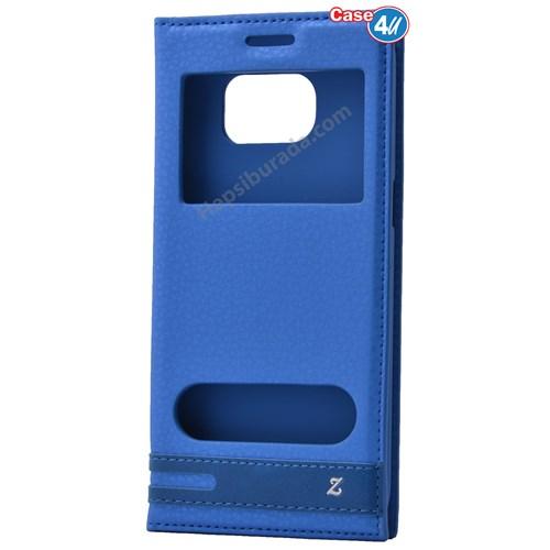 Case 4U Samsung Galaxy S7 Edge Pencereli Kapaklı Kılıf Mavi