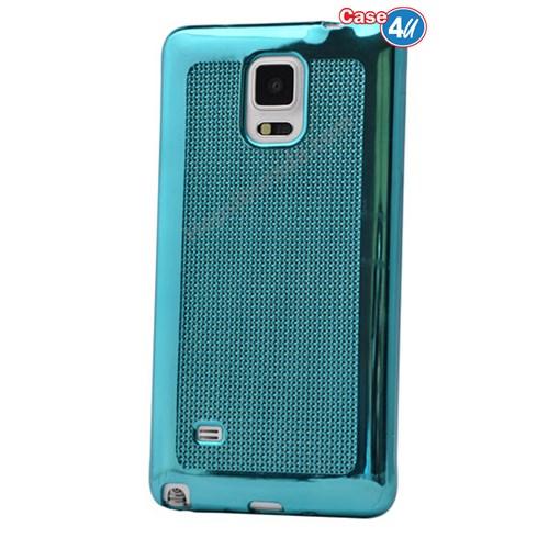 Case 4U Samsung Galaxy Note 3 Hasır Desenli Ultra İnce Silikon Kılıf Mavi