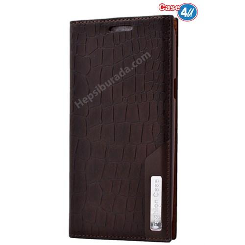 Case 4U Samsung Galaxy J5 Rock Case Kapaklı Kılıf Koyu Kahve