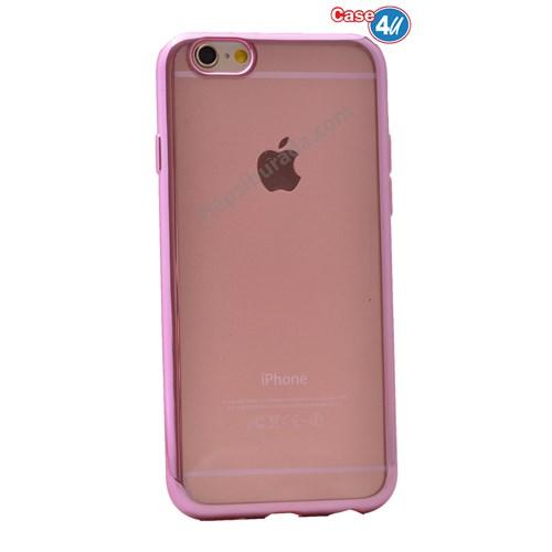 Case 4U Apple İphone 6S Lazer Kaplama Silikon Kılıf Pembe