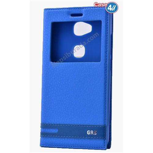 Case 4U Huawei Gr5 Pencereli Kapaklı Kılıf Mavi