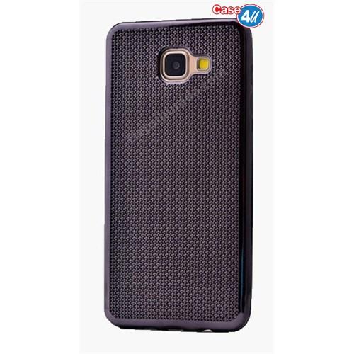 Case 4U Samsung A710 Galaxy A7 Hasır Desenli Ultra İnce Silikon Kılıf Siyah