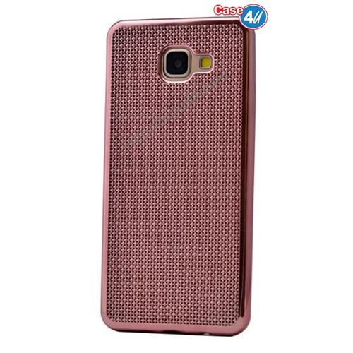 Case 4U Samsung A710 Galaxy A7 Hasır Desenli Ultra İnce Silikon Kılıf Rose Gold