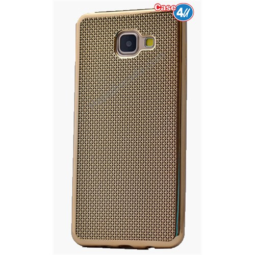 Case 4U Samsung A710 Galaxy A7 Hasır Desenli Ultra İnce Silikon Kılıf Altın