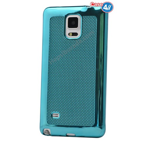 Case 4U Samsung Galaxy Note 4 Hasır Desenli Ultra İnce Silikon Kılıf Mavi