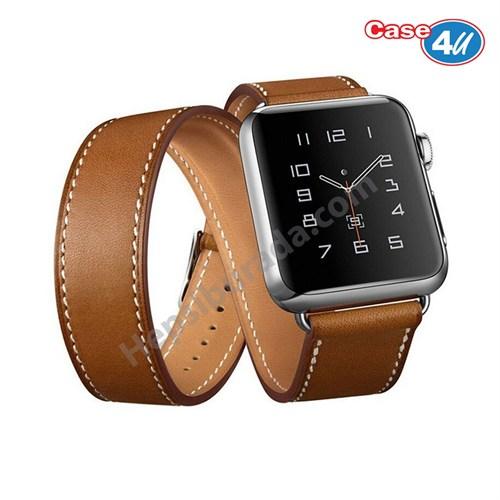 Case 4U Apple Watch Çift Tur Deri Kayış Kahverengi (42mm)