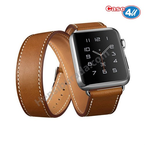 Case 4U Apple Watch Çift Tur Deri Kayış Kahverengi (38mm)