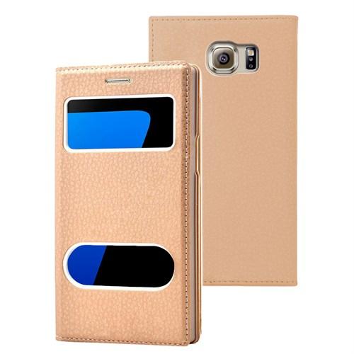 Microsonic Samsung Galaxy S7 Kılıf Gizli Mıknatıslı View Delux Gold