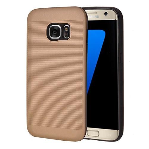 Microsonic Samsung Galaxy S7 Edge Kılıf Linie Anti-Shock Gold