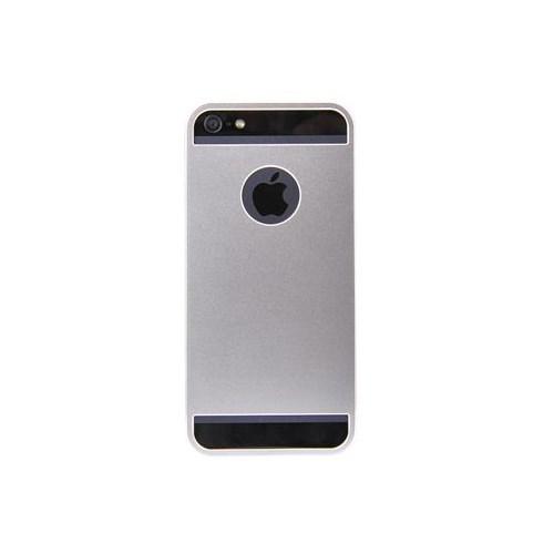 Duck Apple iPhone 5 Logo Delikli Çift Tarafli Titanyum Silver Kapak