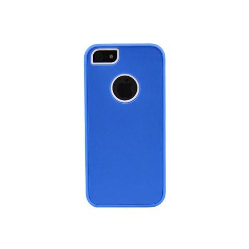 Duck Apple iPhone 5 Logo Delikli Sert Plastik Mavi Kapak