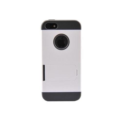 Duck Apple iPhone 5 Logo Delikli Sert Plastik/Ayakli Beyaz Kapak