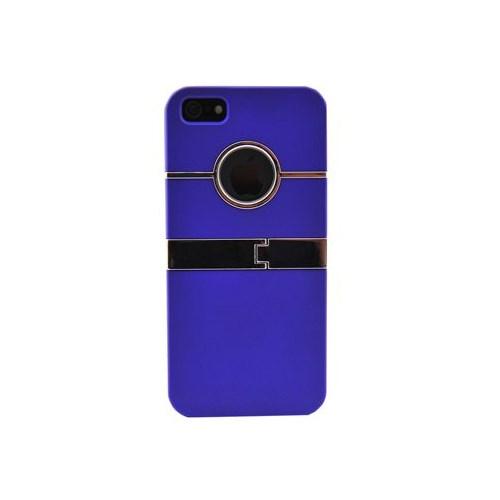 Duck Apple iPhone 5 Logo Delikli Metal Ayakli Mor Kapak