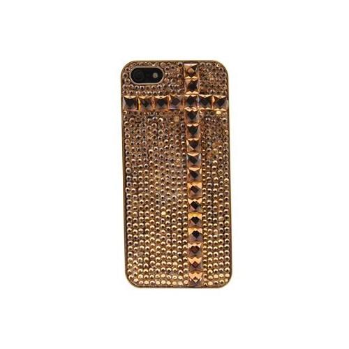 Vacca Apple İphone 5 Pullu Taşli Desenli Gold Kapak