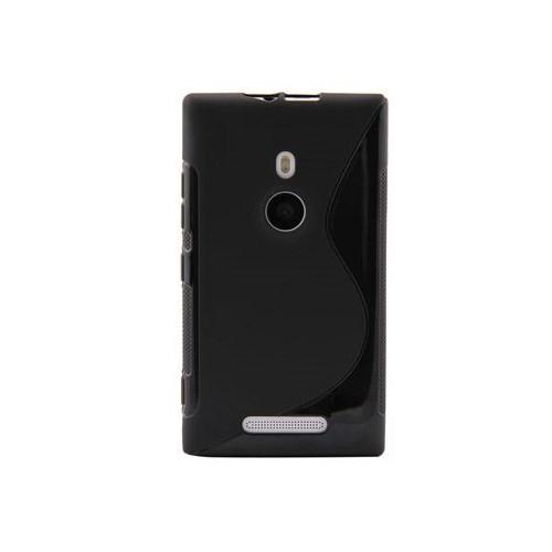 Vacca Nokia Lumia 925 Silikon Kilif Dalgali Desenli Siyah Kapak