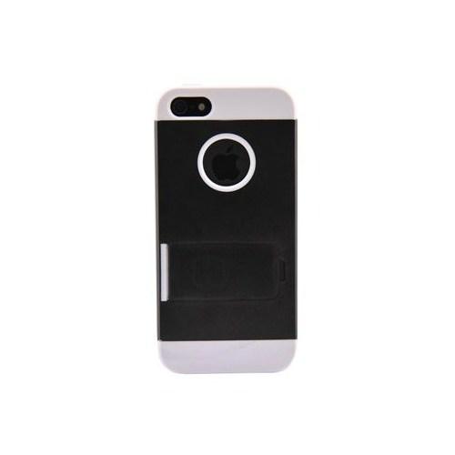 Duck Apple iPhone 5 Logo Delikli Sert Plastik/Ayakli Siyah Kapak