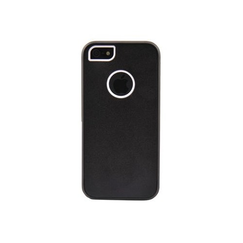 Duck Apple iPhone 5 Logo Delikli Sert Plastik Siyah Kapak