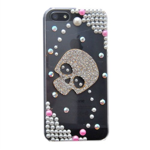 Resonare Apple iPhone 5 - 3D Skull - Boncuk Desenli - Şeffaf Kapak