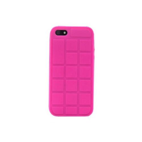 Duck Apple iPhone 5 Silikon Kilif - Chocolate Look - Pembe Kapak