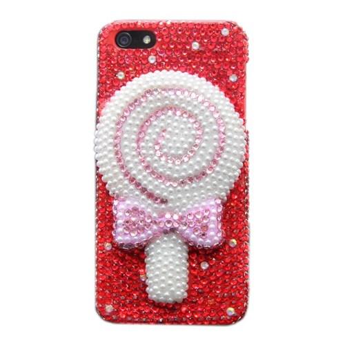 Duck Apple iPhone 5 - 3D Lolipop-Boncuk Desenli - Kirmizi Kapak
