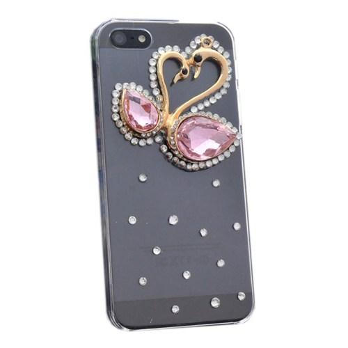 Resonare Apple iPhone 5 Pembe Kuğular - Lady Line - Şeffaf Kapak