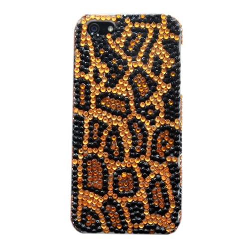 Resonare Apple iPhone 5 Leopar - Boncuk Desenli - Sari Siyah Kapak