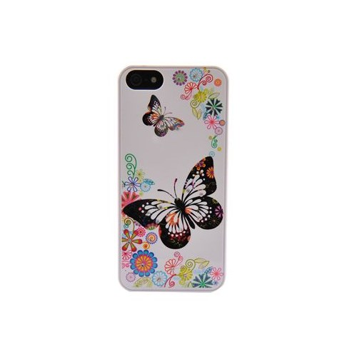 Resonare Apple iPhone 5 Kelebek Desenli Mini Taşli Lady-Line Beyaz Kapak