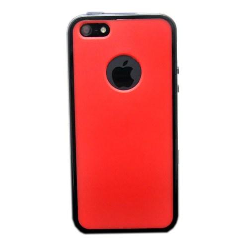 Duck Apple iPhone 5 Logo Delikli - Siyah Çerçeveli - Kirmizi Kapak