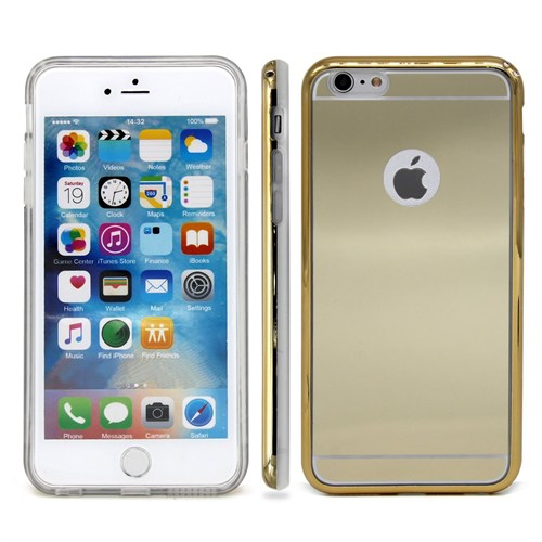 Lopard İphone 6 Kılıf Aynalı Silikon Arka Kapak Gold