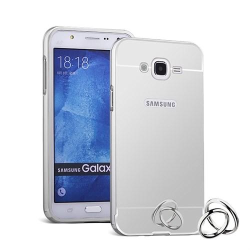Lopard Samsung Galaxy J5 Kılıf Aynalı Silikon Arka Kapak Beyaz