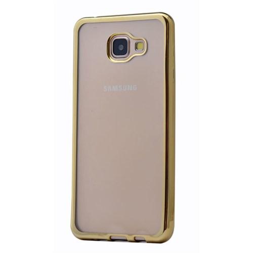 Lopard Samsung Galaxy A7 (2016) Kılıf Laser Şeffaf Arka Sert Kapak Gold