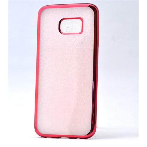 Lopard Samsung Galaxy S7 Kılıf Laser Şeffaf Arka Sert Kapak Kırmızı