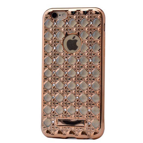 Lopard İphone 6S Plus Kılıf Sarmaşık Taşlı Silikon Arka Kapak Gold