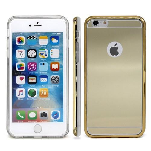 Lopard İphone 6S Kılıf Aynalı Silikon Arka Kapak Gold