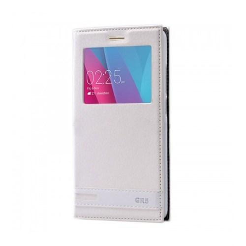 Lopard Huawei Gr5 Kılıf Kapaklı Pencereli Ellite Case Deri Beyaz