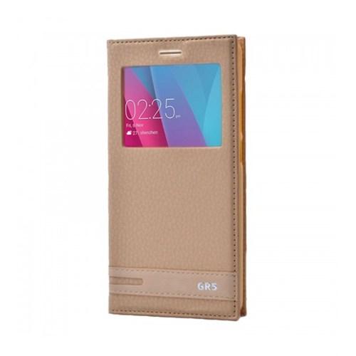 Lopard Huawei Gr5 Kılıf Kapaklı Pencereli Ellite Case Deri Gold
