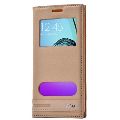 Lopard Samsung Galaxy A3 2016 Kılıf Kapaklı Pencereli Ellite Case Deri Gold