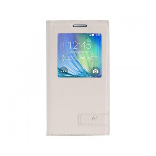 Lopard Samsung Galaxy A5 Kılıf Kapaklı Pencereli Ellite Case Deri Beyaz
