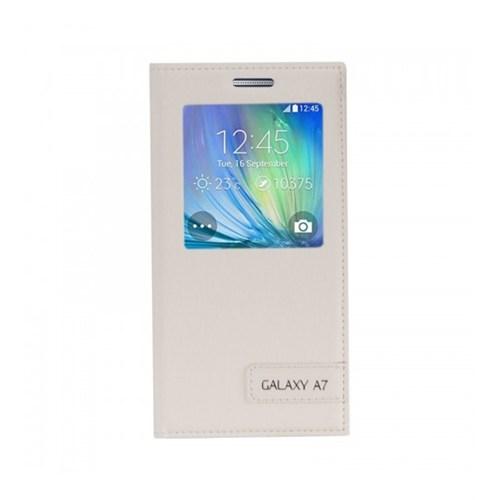 Lopard Samsung Galaxy A7 Kılıf Kapaklı Pencereli Ellite Case Deri Beyaz
