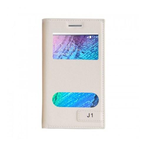 Lopard Samsung Galaxy J1 Kılıf Kapaklı Pencereli Ellite Case Deri Beyaz