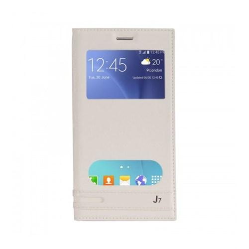 Lopard Samsung Galaxy J7 Kılıf Kapaklı Pencereli Ellite Case Deri Beyaz