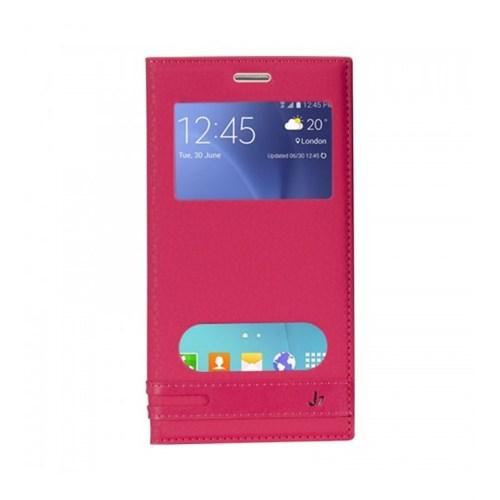 Lopard Samsung Galaxy J7 Kılıf Kapaklı Pencereli Ellite Case Deri Pembe
