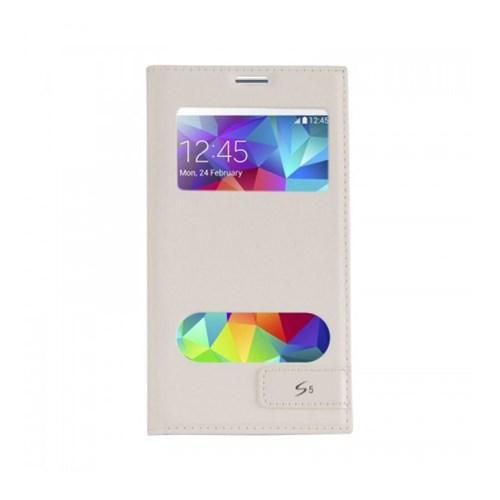 Lopard Samsung Galaxy S5 Kılıf Kapaklı Pencereli Ellite Case Deri Beyaz