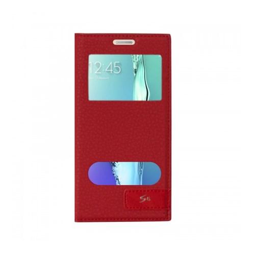Lopard Samsung Galaxy S6 Kılıf Kapaklı Pencereli Ellite Case Deri Kırmızı