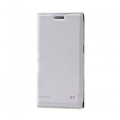 Lopard Samsung Galaxy S7 Kılıf Kapaklı Sapphire Case Deri Beyaz