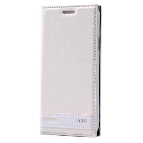 Lopard Samsung Galaxy A3 2016 Kılıf Kapaklı Sapphire Case Deri Beyaz